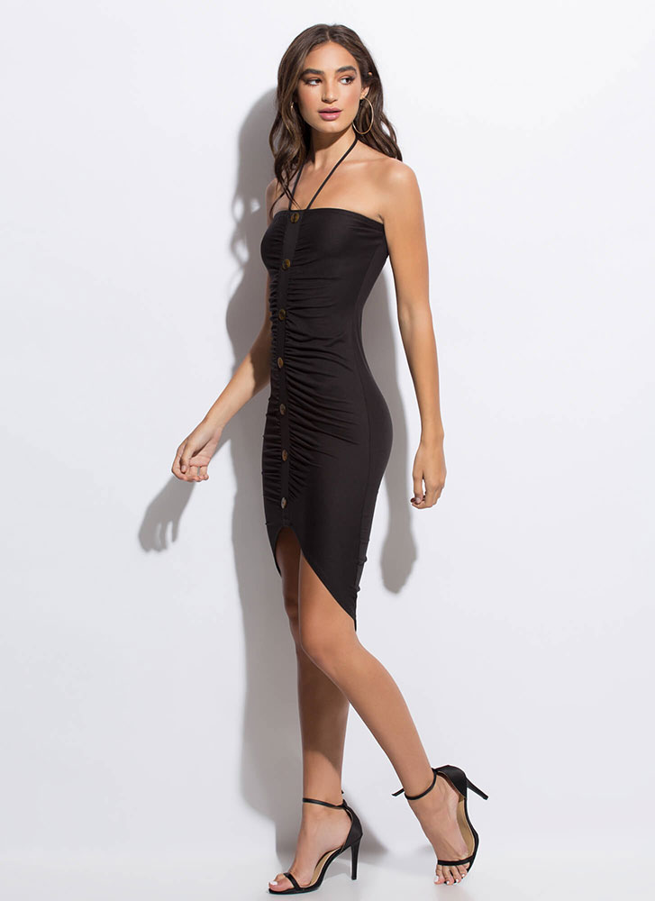 Hit The Button Ruched Midi Dress BLACK (Final Sale)