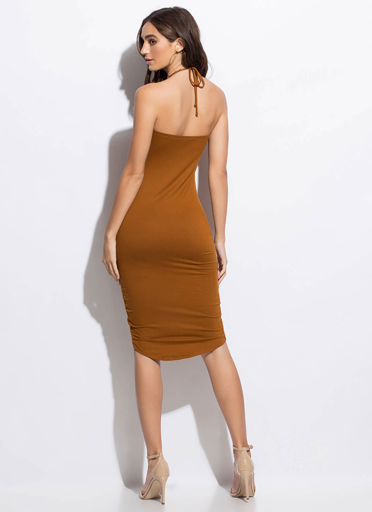 Hit The Button Ruched Midi Dress TERRACOTTA (Final Sale)
