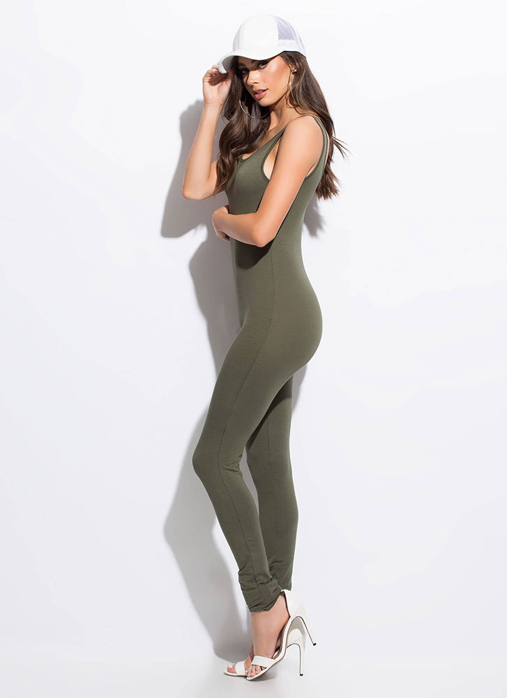 What You're Looking For Solid Jumpsuit OLIVE