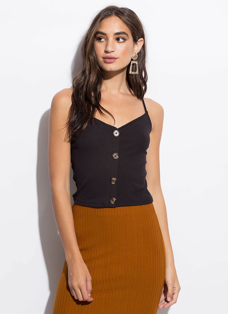 Way Too Easy Button-Front Tank Top BLACK