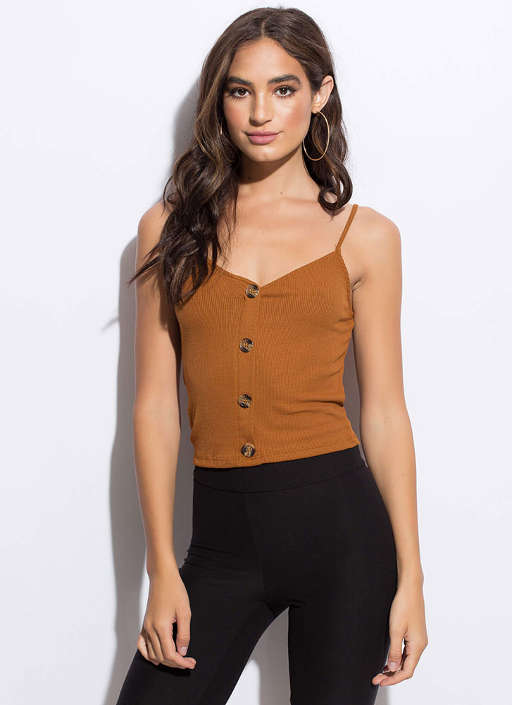 Way Too Easy Button-Front Tank Top TERRACOTTA