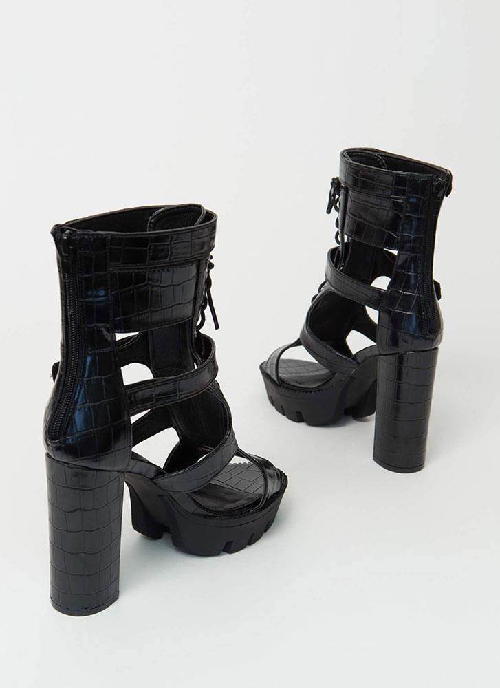Cold Blood Faux Crocodile Caged Booties BLACK
