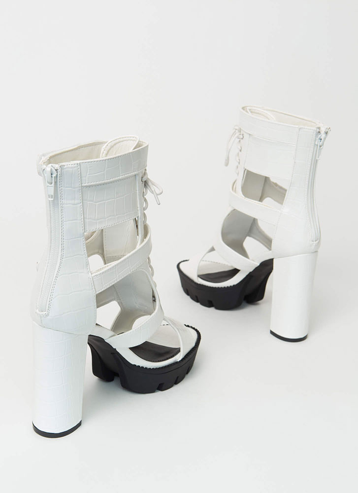 Cold Blood Faux Crocodile Caged Booties WHITE