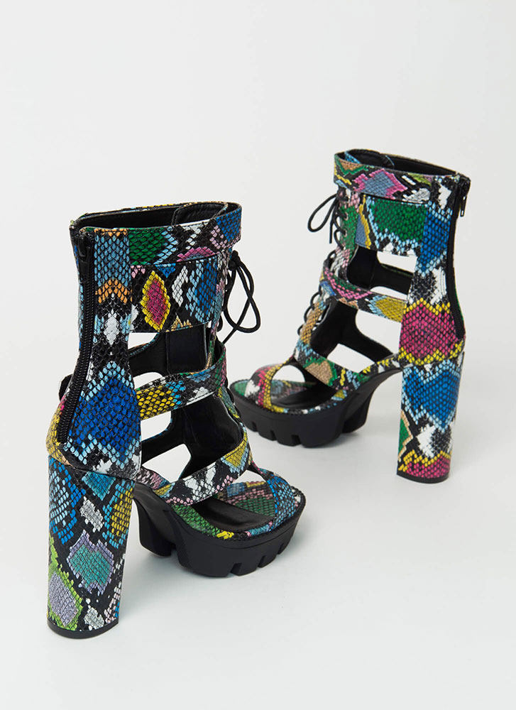 Cold Blood Snake Print Caged Booties MULTI