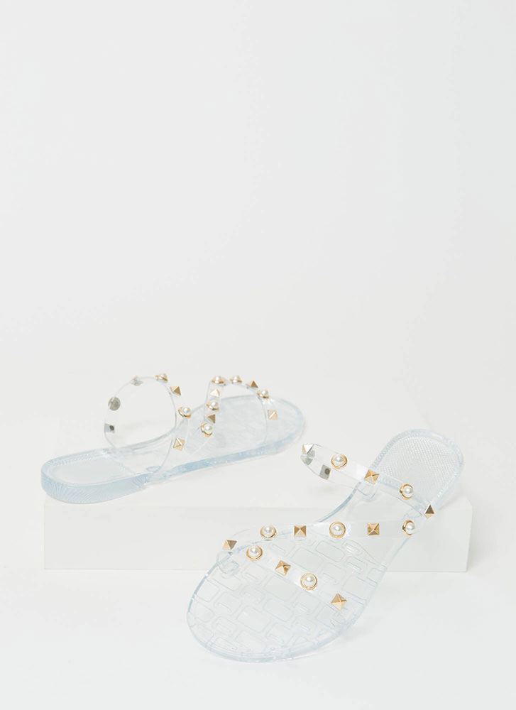 Get The Edge Embellished Jelly Sandals CLEAR