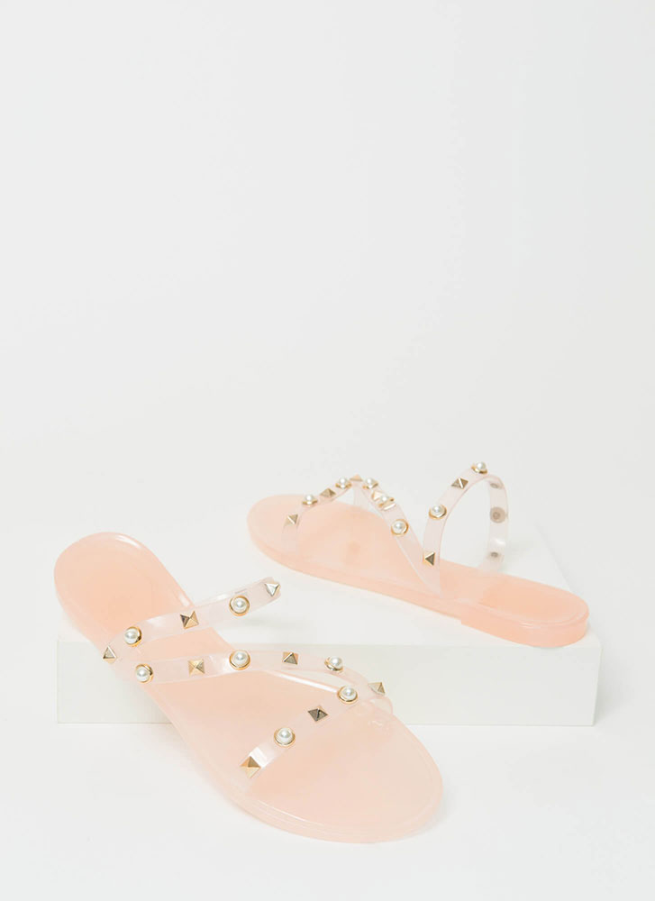 Get The Edge Embellished Jelly Sandals NUDE