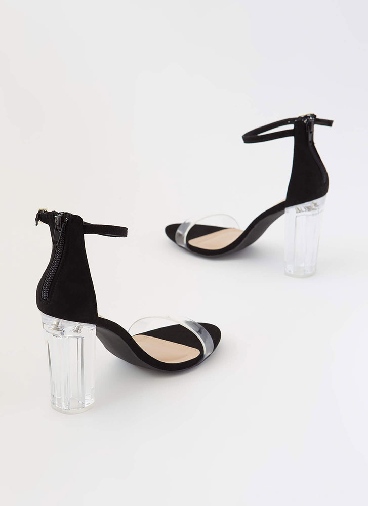 The Clear Choice Chunky Lucite Heels BLACK