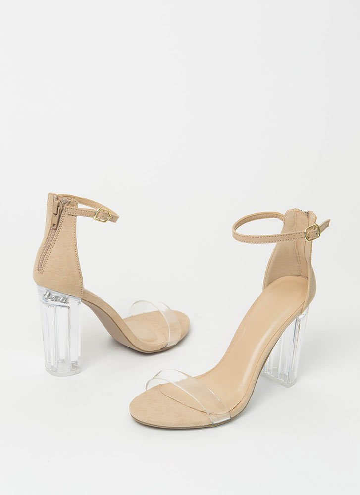 The Clear Choice Chunky Lucite Heels NATURAL