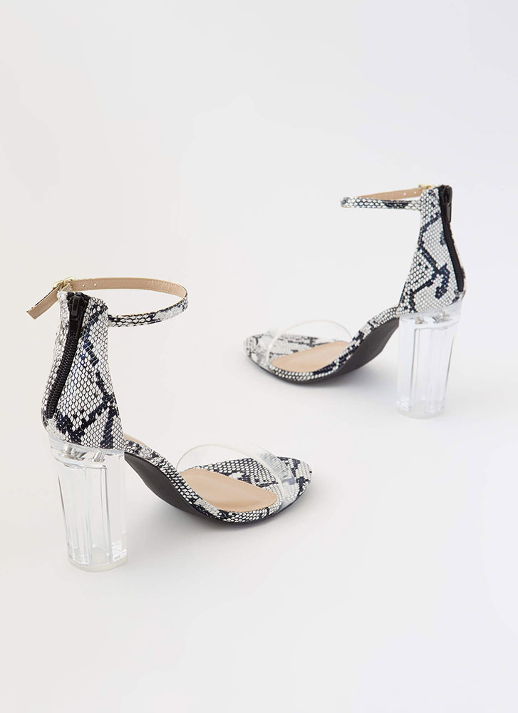 The Clear Choice Faux Snake Lucite Heels BLACKWHITE