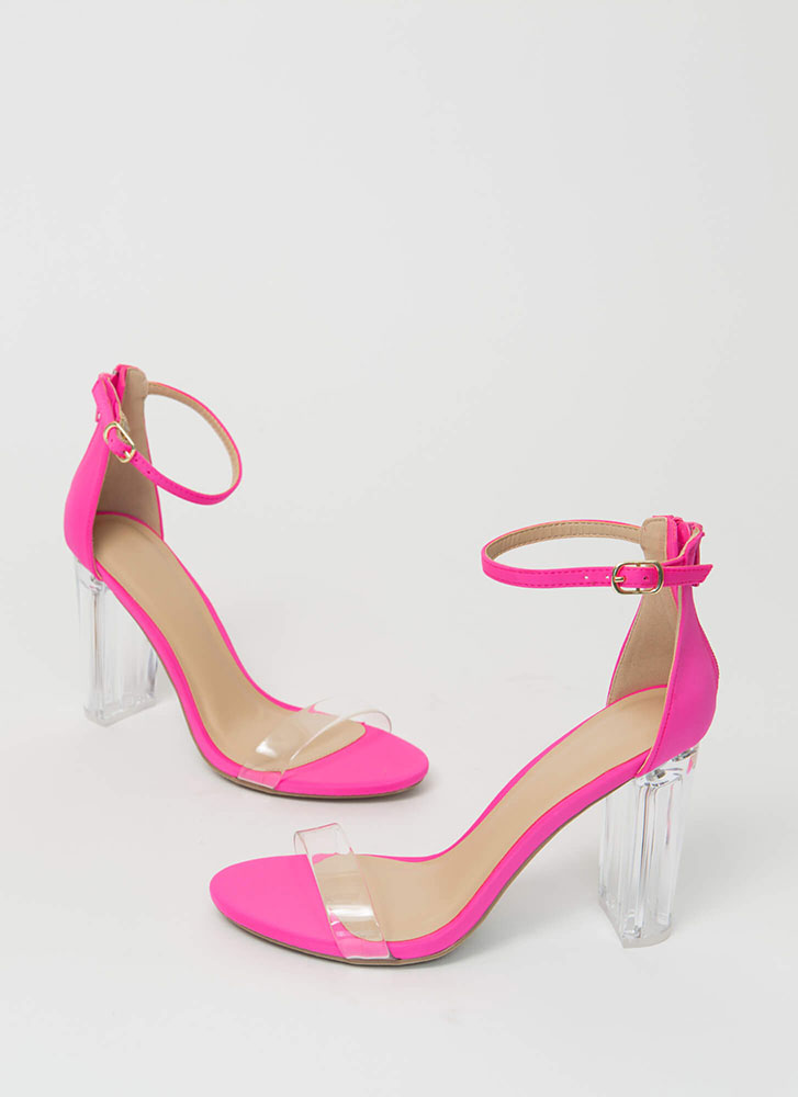 The Clear Choice Strappy Lucite Heels NEONOPINK