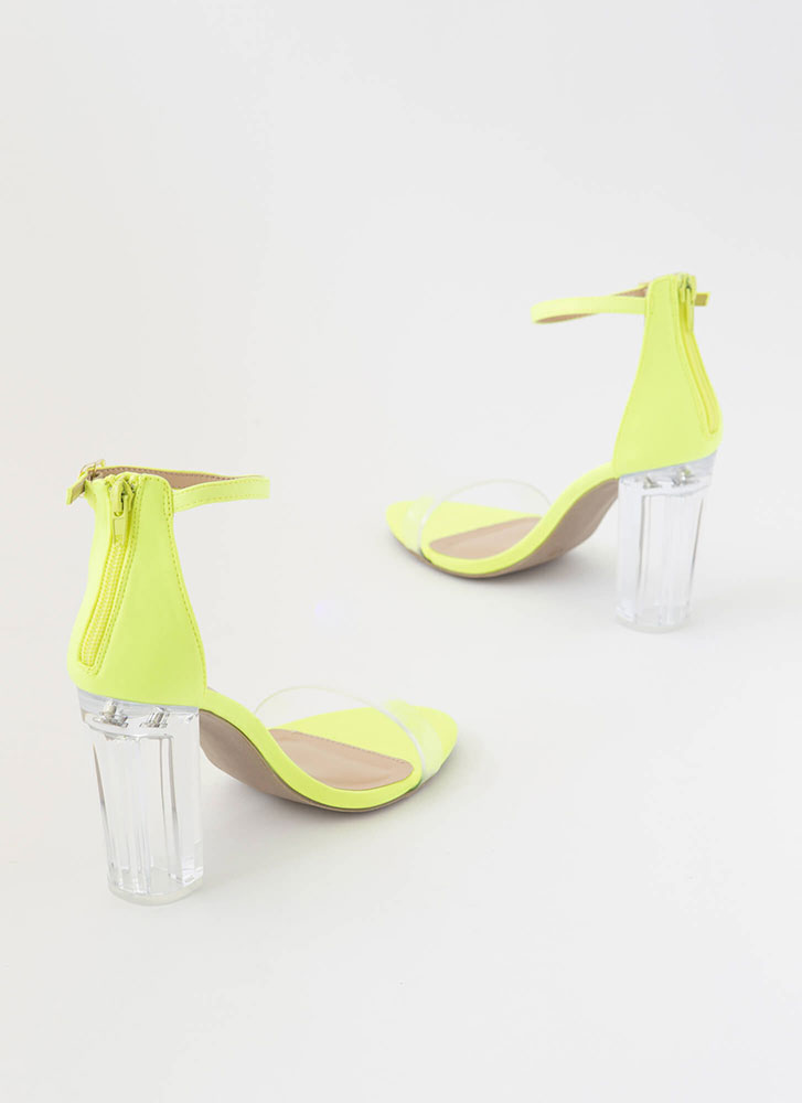 The Clear Choice Strappy Lucite Heels NEONYELLOW (Final Sale)
