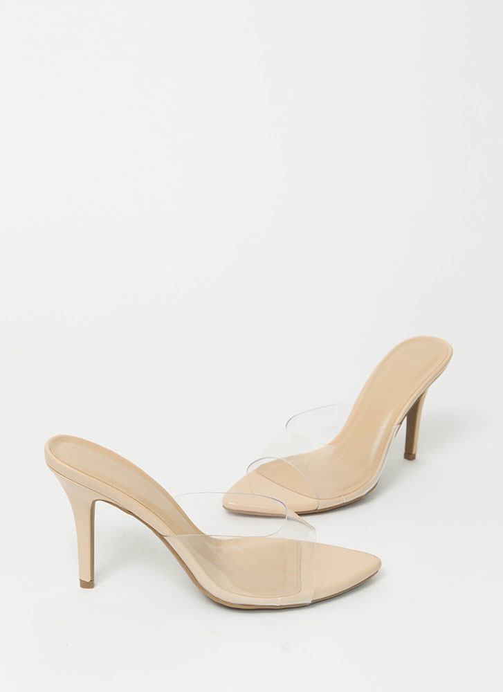 Step Into My Office Clear Mule Heels NATURAL