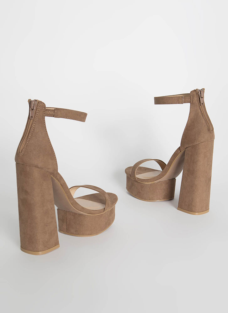 Retro Vibe Chunky Faux Suede Platforms TAUPE