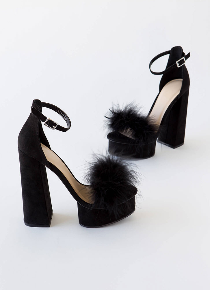 Founding Feathers Chunky Furry Platforms BLACK