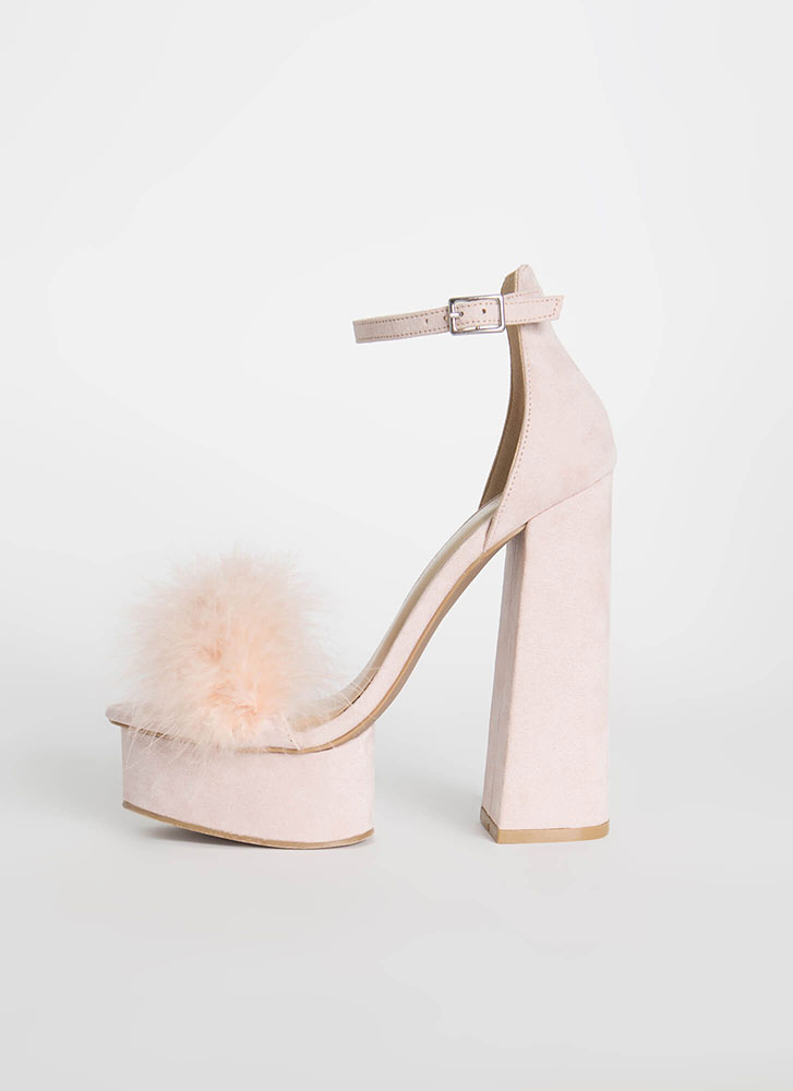 Founding Feathers Chunky Furry Platforms NUDE