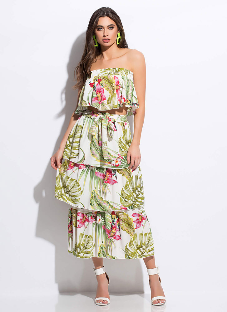 Two Tropical Tiered Top And Skirt Set GREENMULTI