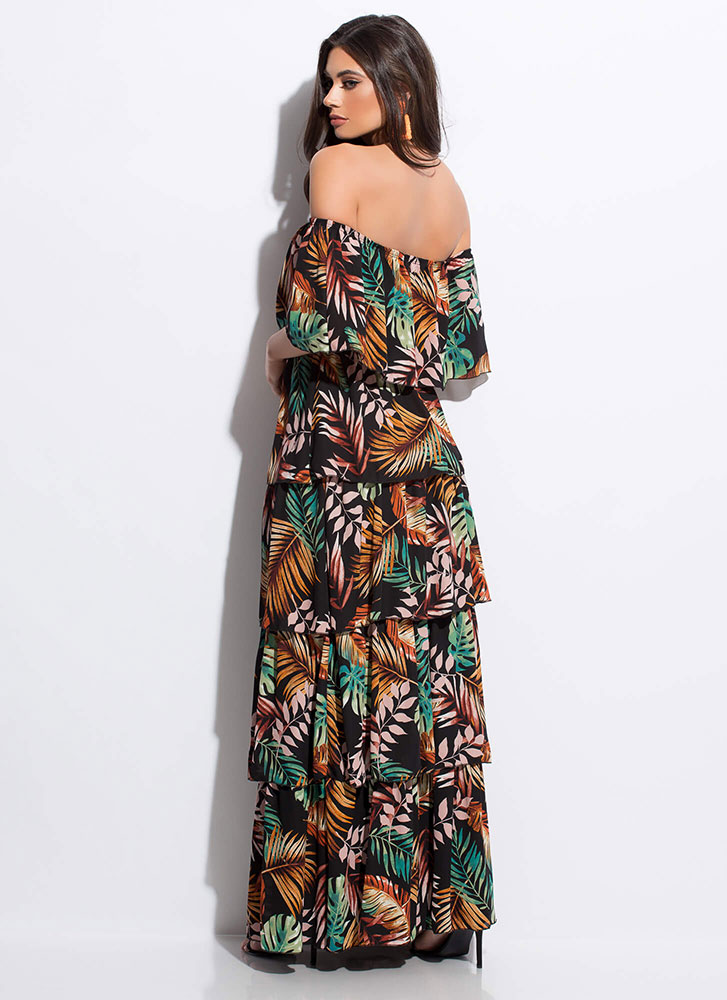 Take Leave Tropical Tiered Maxi Dress BLACKMULTI