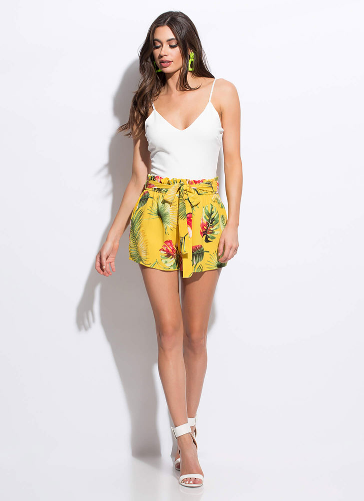 It Takes Two To Tropical Floral Romper YELLOW