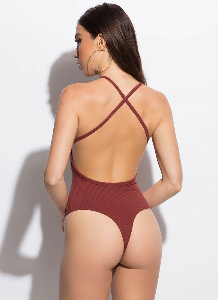 Stay Strappy Open-Back Thong Bodysuit RUST