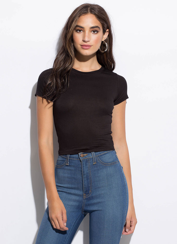 Good Things Small Packages Cropped Tee BLACK
