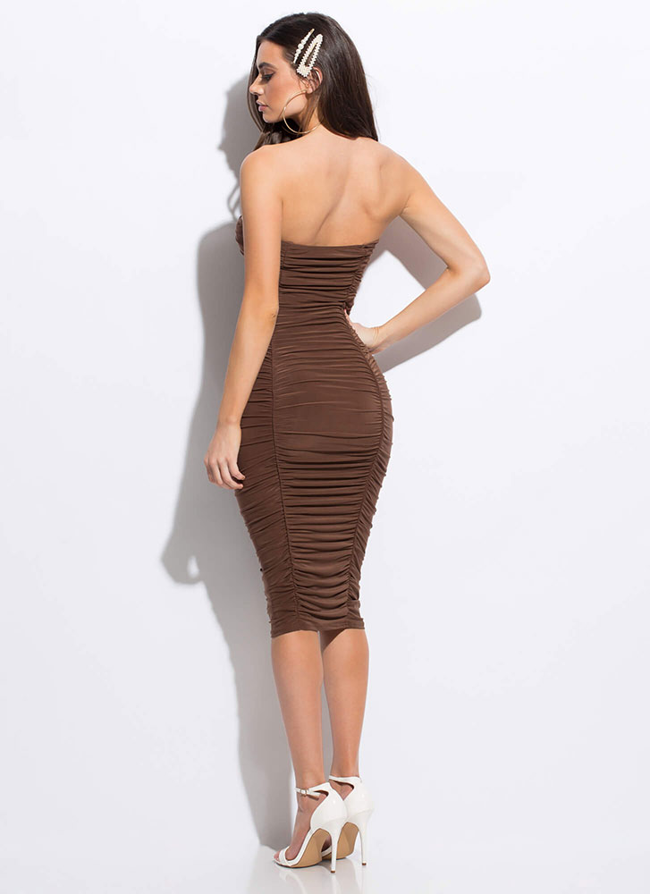 Shirr Thing Strapless Ruched Midi Dress MOCHA
