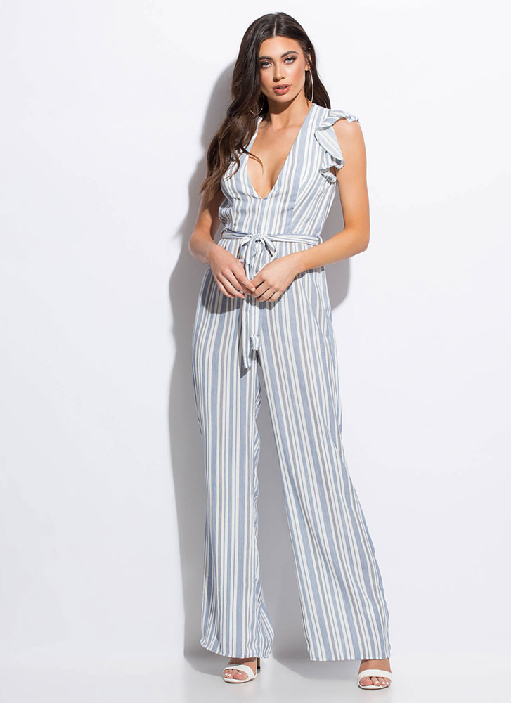 Easy Weekend Striped Ruffled Jumpsuit BLUE