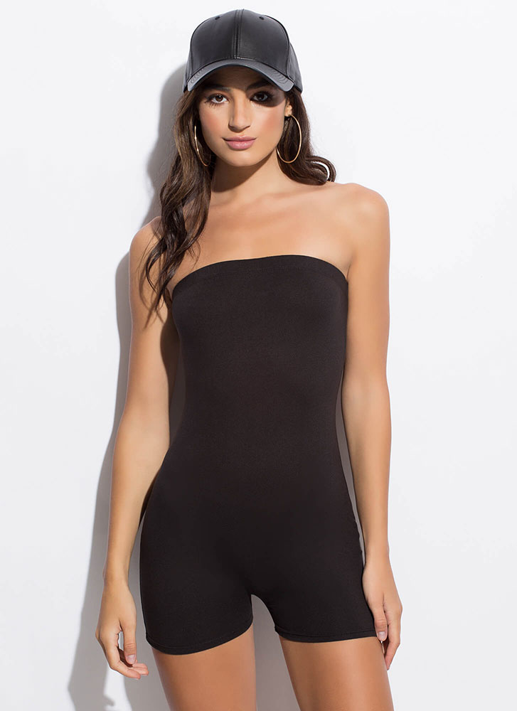 The Perfect Fit Strapless Romper BLACK