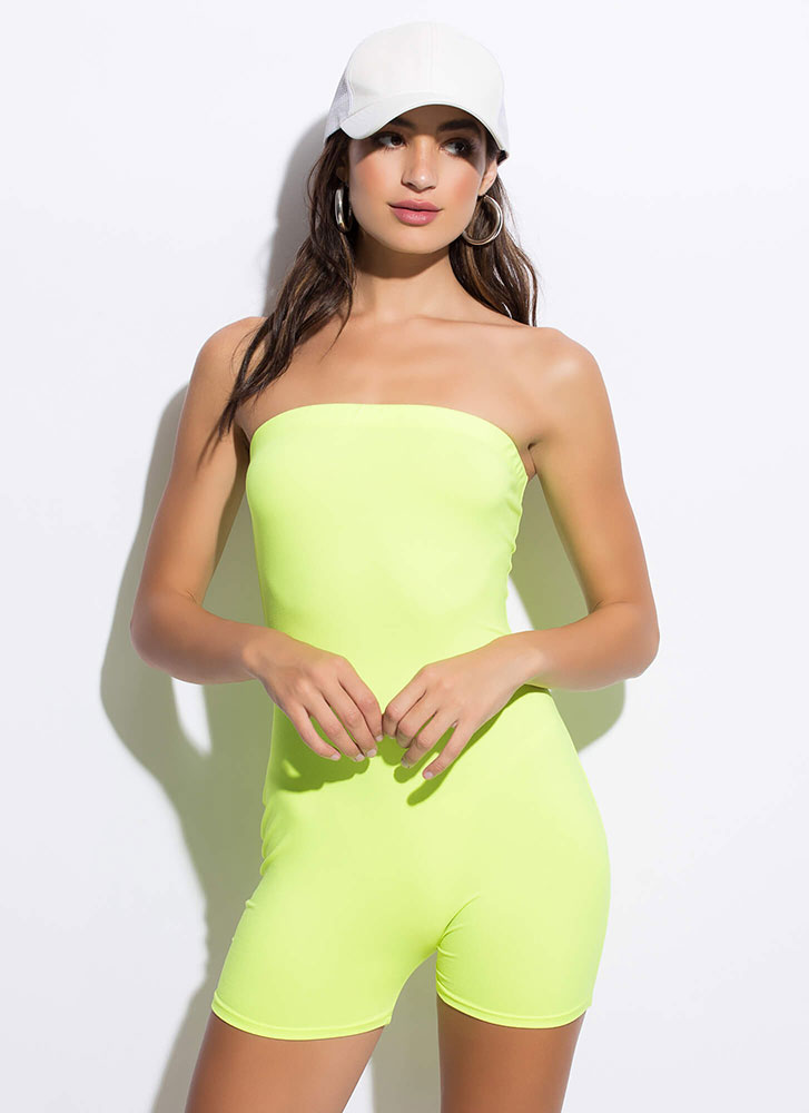 The Perfect Fit Strapless Romper NEONYELLOW