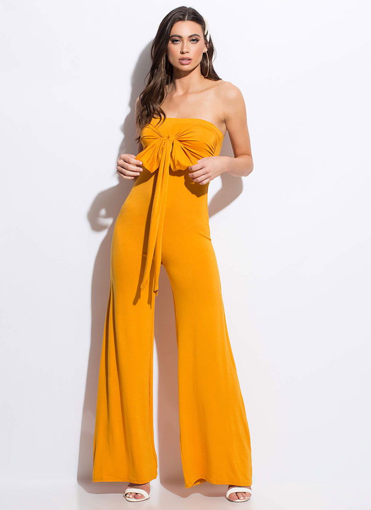 Go Bust Strapless Tied Palazzo Jumpsuit MUSTARD