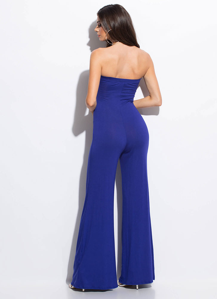 Go Bust Strapless Tied Palazzo Jumpsuit ROYAL