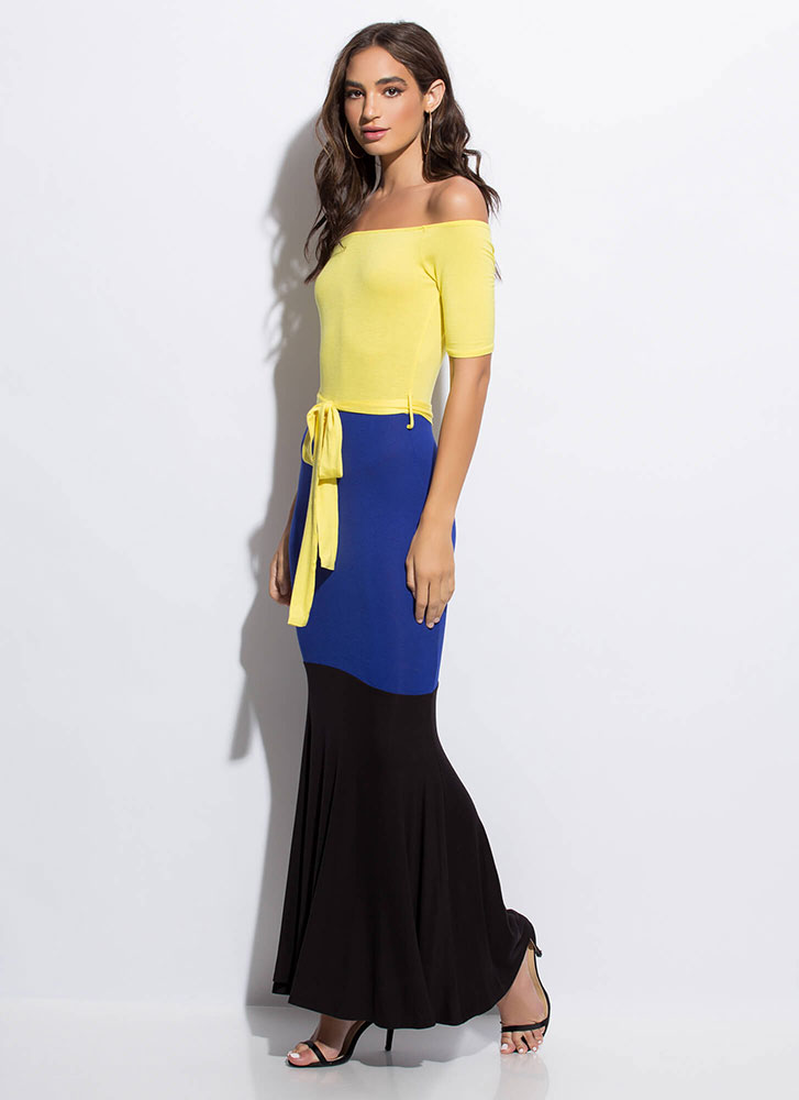 1-2-3 Off-Shoulder Colorblock Maxi Dress YELLOW