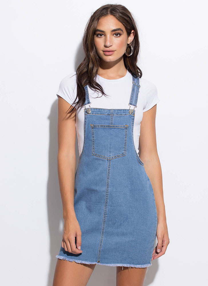 Back In The Day Cut-Off Denim Skirtalls MEDBLUE