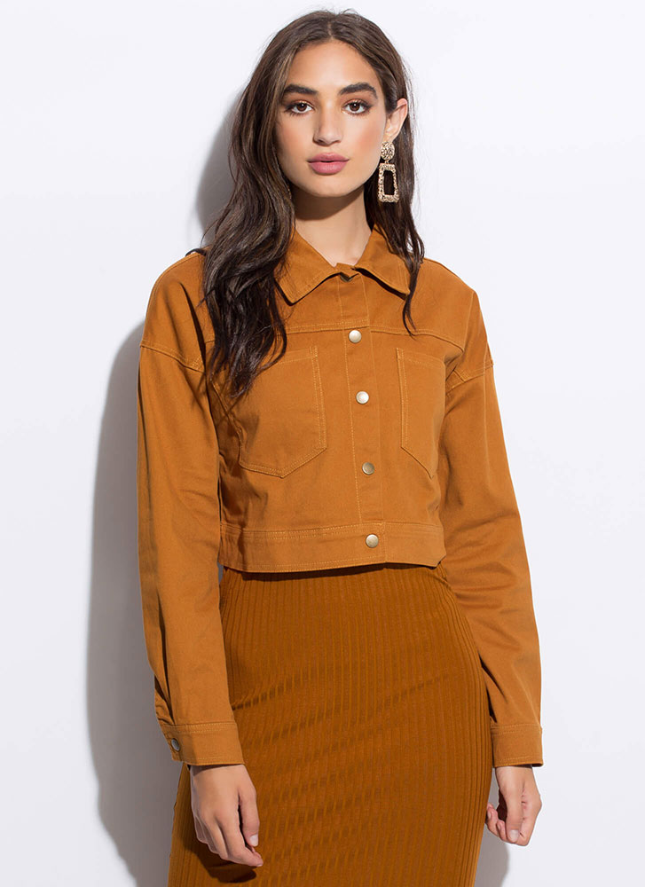 Chic Me Out Cropped Button-Up Jacket COGNAC
