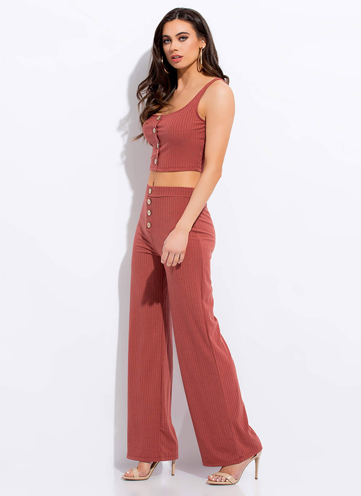 Pushing My Buttons Top And Pant Set CINNAMON