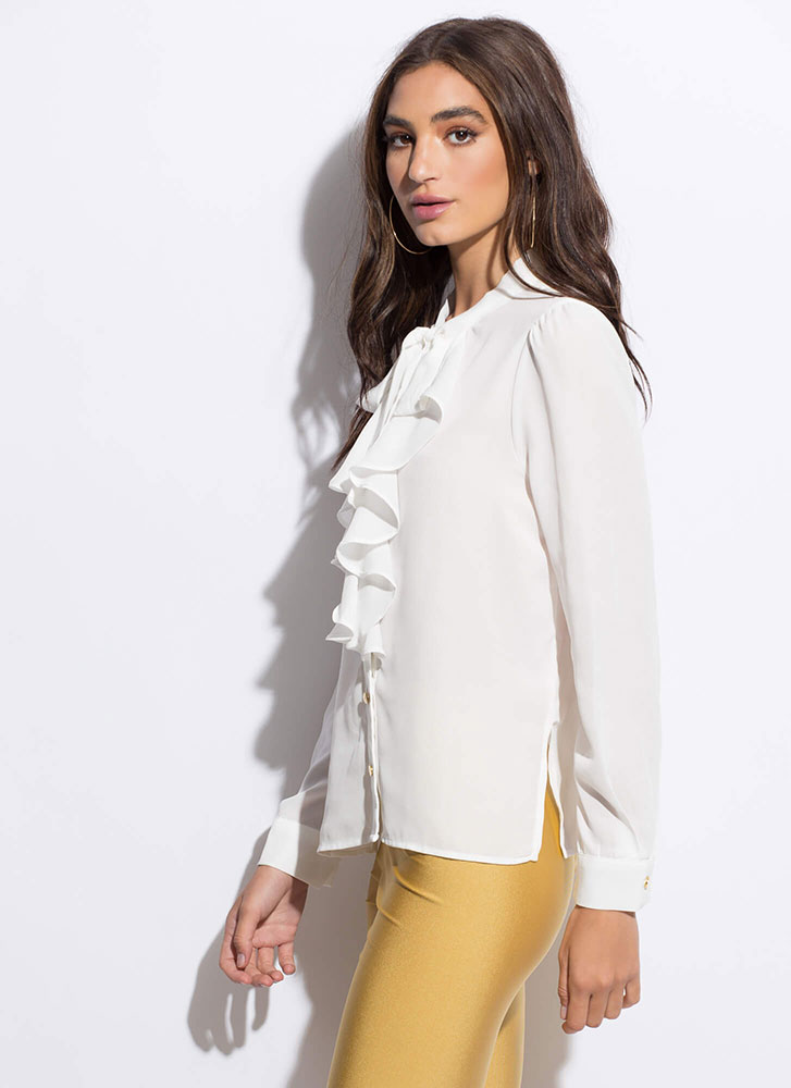 Lady In Ruffles Tied Button-Up Blouse WHITE