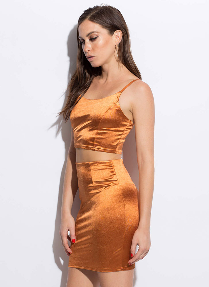 Worship Satin Shiny Top And Skirt Set COGNAC