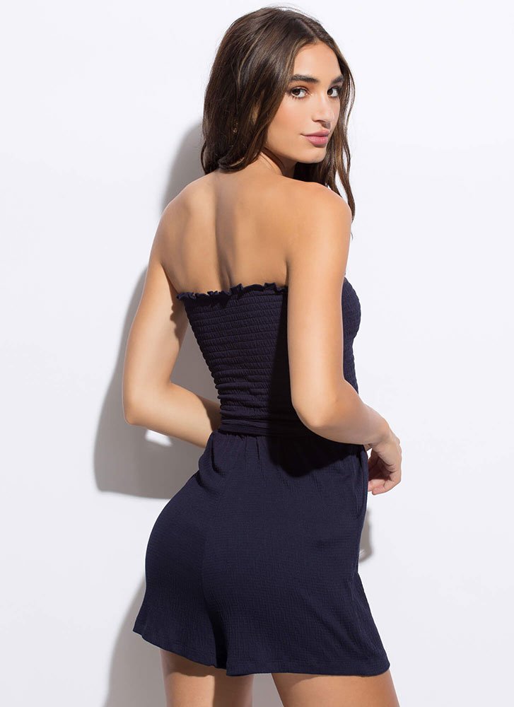 Too Cute To Handle Strapless Tied Romper NAVY