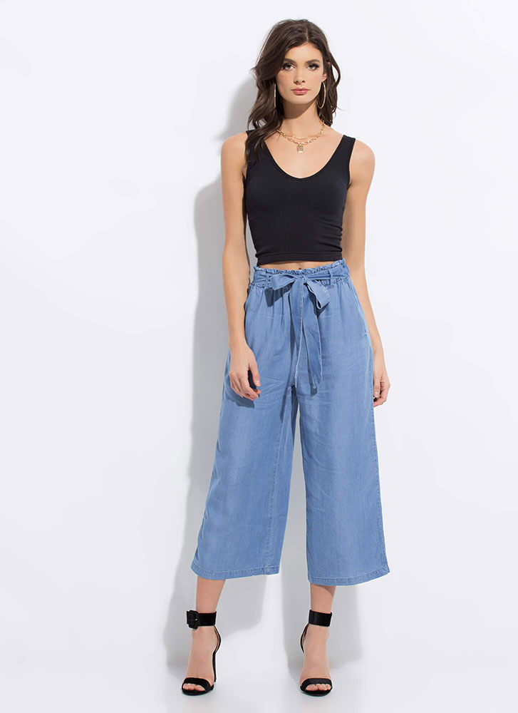 Denim Do Wide Cropped Chambray Pants BLUE