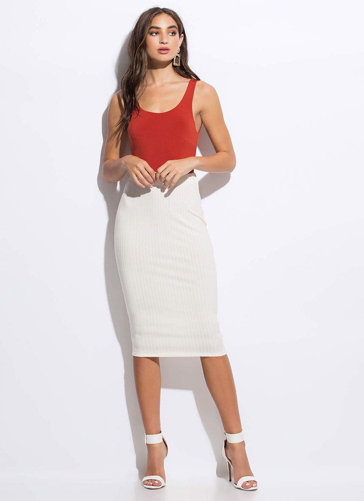 Back To Basics Rib Knit Pencil Skirt IVORY