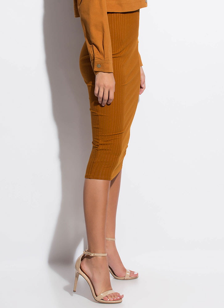 Back To Basics Rib Knit Pencil Skirt TERRACOTTA
