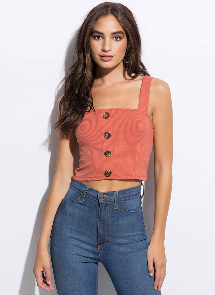 It's Easy Cropped Button-Front Tank Top TERRACOTTA