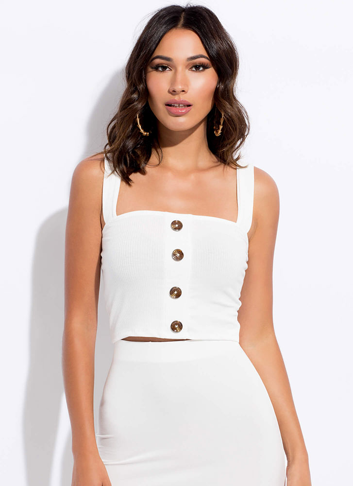 It's Easy Cropped Button-Front Tank Top WHITE