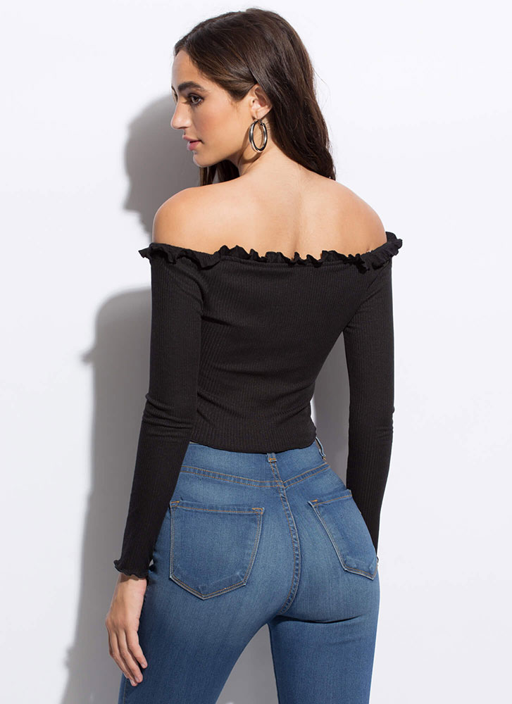 Really Frilly Laced Off-Shoulder Top BLACK