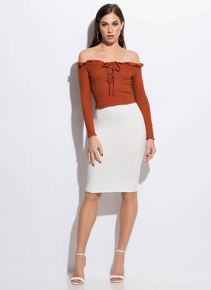 Really Frilly Laced Off-Shoulder Top RUST