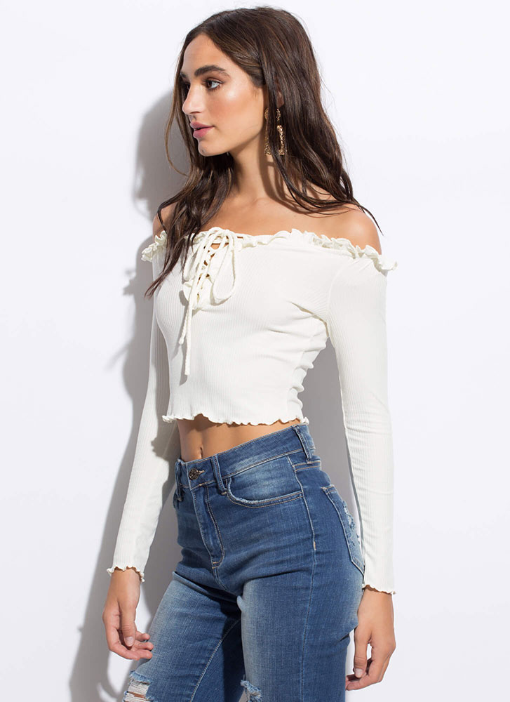Really Frilly Laced Off-Shoulder Top WHITE