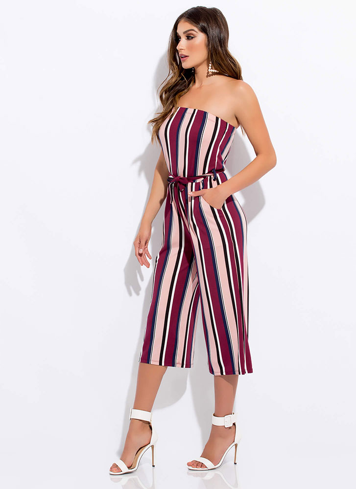 Chic Stripes Strapless Cropped Jumpsuit BURGUNDY