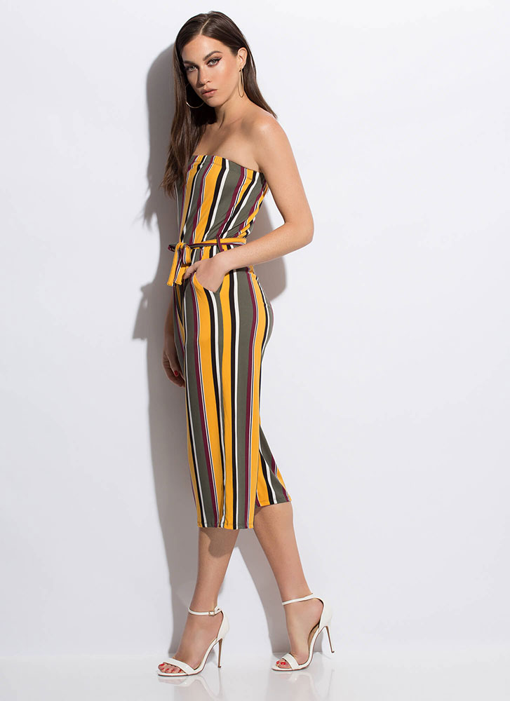Chic Stripes Strapless Cropped Jumpsuit OLIVE