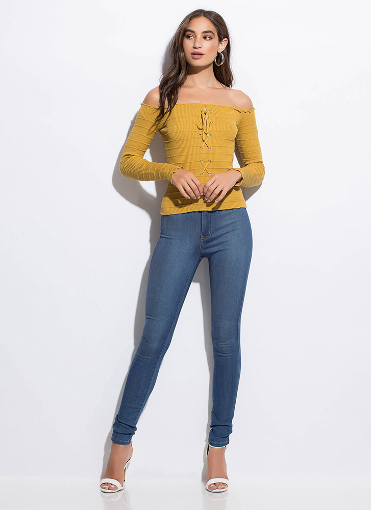 Detail-Oriented Laced Off-Shoulder Top MUSTARD