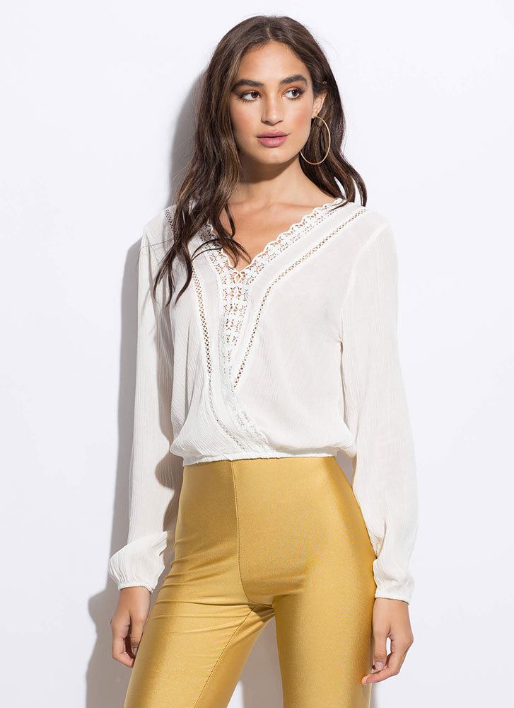 Delicate Details Lace Trim Blouse WHITE
