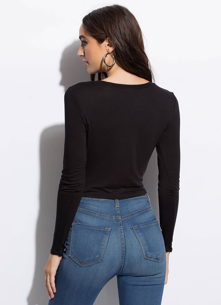 Twist To The Story High-Low Crop Top BLACK